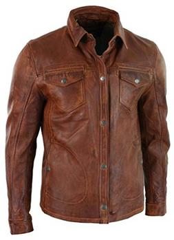 Men's Antique Brown Classic Shirt Style Vintage Motorcycle
