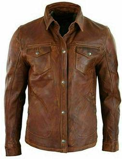 Men's Antique Brown Shirt Style Vintage Motorcycle Soft Re