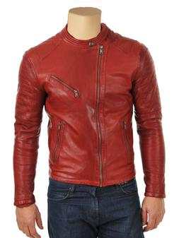 Mens Biker Motorcycle Red Genuine Distress Real Lamb Leather
