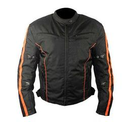Mens Black and Orange Fabric Textile Armoured Motorcycle Jac
