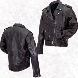 Mens Black Leather Motorcycle Jacket Zip-Out Liner Classic B