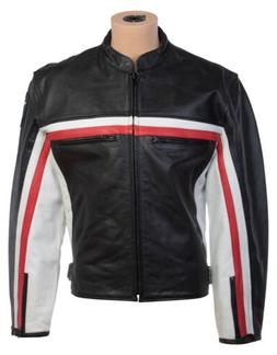 Mens Black Genuine Leather Motorcycle Biker Jacket Cafe Raci