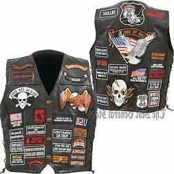Mens Black Leather Motorcycle Vest with 42 Biker Patches Lac