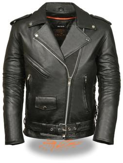 Mens Black Leather Side Lace Police Style Motorcycle Jacket