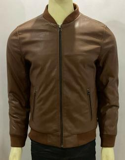 MENS BROWN GENUINE LAMBSKIN BOMBER LEATHER JACKET.SIZE XS-3X