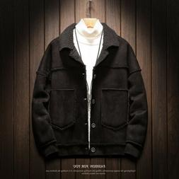 Mens Cashmere Single Breasted Lambwool Motorcycle Jacket Out