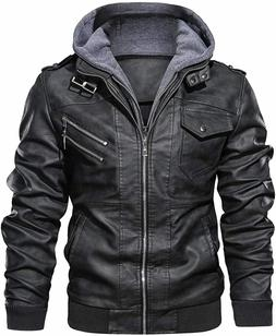Men's Casual Stand Collar Leather Zip-Up Motorcycle Bomber