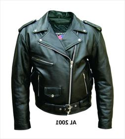 mens classic black belted leather motorcycle biker