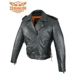 Mens Classic Police Style Motorcycle Jacket w/Side Laces By