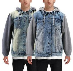 Men's Hooded Button Up Faded Denim With Jersey Sleeves Jea
