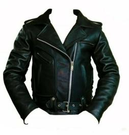 Mens Kiss Army Real Cow Leather Jacket Biker Style Motorcycl