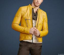 Mens Leather Jackets Motorcycle Bomber Biker Yellow Leather