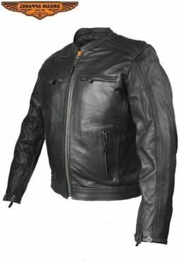 Mens Leather Motorcycle Jacket With Diamond Pattern On The S