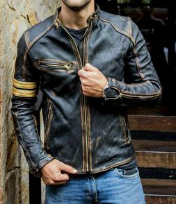 Men's Motorcycle Biker Vintage Cafe Racer Distressed Black