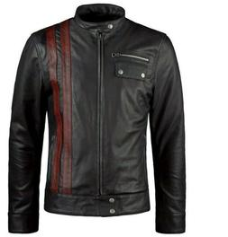 Mens Motorcycle Cafe Racer Leather Jacket Vintage Style Anti