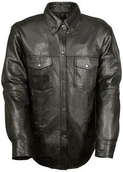 Mens Motorcycle Casual Light Weight Full sleeve Leather Shir