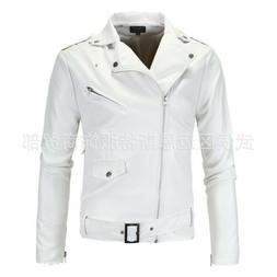 Mens Motorcycle Leather Jacket Slim fit Stand collar Buckle