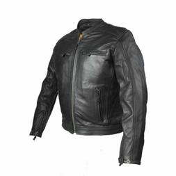 MENS MOTORCYCLE LEATHER JACKET w/ DIAMOND PATTERN~AIR VENTS