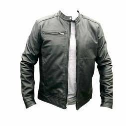 Mens Real Leather Motorcycle Perfecto Jacket Short Casual Ne