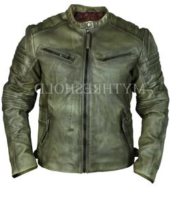 mens new real leather jacket cafe racer