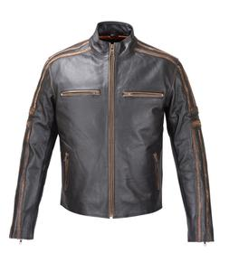 MENS REAL LEATHER ANTIQUE JACKET BLACK MOTORCYCLE OLD SCHOOL