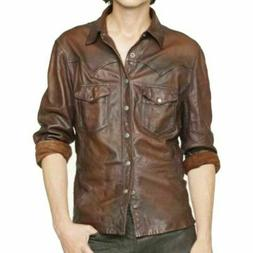MENS LEATHER SHIRT REAL LEATHER BIKER STYLE SHIRT JACKET WES