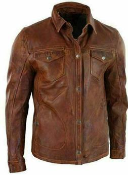 Men's Shirt Style Vintage Motorcycle Antique Brown Soft Re