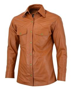 Men's Shirt Style Vintage Motorcycle Antique Tan Soft Real