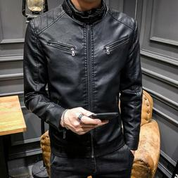 Mens Slim Short Motorcycle Suit Coat Trend Round Neck PU Lea