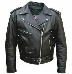 Mens Tall Size 66 Buffalo Leather Motorcycle Jacket W Concea