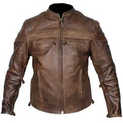Mens TALL size retro brown buffalo hide cafe leather motorcy
