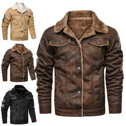 Mens Vintage Biker Motorcycle Button Thick Bomber Coats Wint