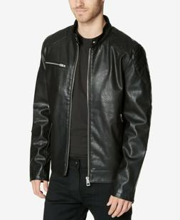GUESS Moto Faux-Leather Black NEW Moto Jacket Men's Sz SMALL