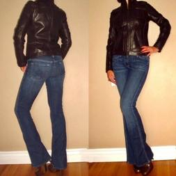 DKNY Motorcycle Bomber Biker Chocolate Brown Natural Leather