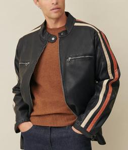 Motorcycle Faux-Leather Jacket with Stripe NEW 100% Original