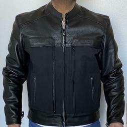 Motorcycle Leather and Canvas Leather Cruiser Jacket Size La