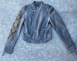 New Faux Leather Motorcycle Style Jacket Women Size Small