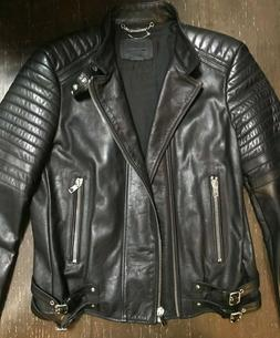 NEW DIESEL BLACK GOLD LEATHER PADDED MOTORCYCLE JACKET 50 M/