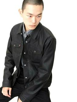 New Levi's Mens Black Faux Leather Button Up Fashion Trucker