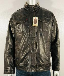 New Levi's Men's Faux Leather Sherpa Lined Motorcycle Bomb
