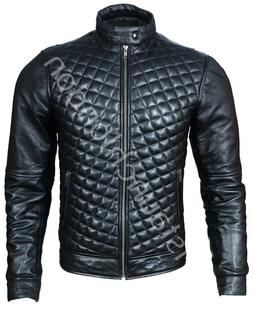 New Men HOT Quilted Genuine Lambskin Leather Motorcycle Slim