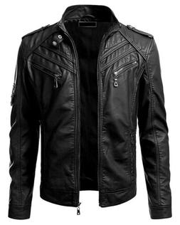 New Men's Genuine Lambskin Leather Jacket Black Slim fit Bik