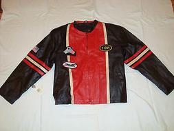 NEW DIAMOND PLATE MEN'S GENUINE LEATHER RACING JACKET WITH T