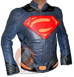 New Men's Handmade Superman Motorcycle Leather Jacket with C