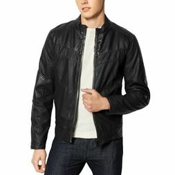 GUESS NEW Men's Jet Black Faux-leather Textured Zip-up Motor