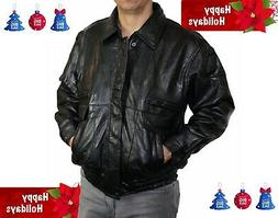 new mens black genuine leather jacket flight