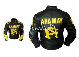 New Mens Black Yellow Letters Motorcycle Cowhide Leather Jac