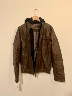 NEW Calvin Klein Mens Faux Lamb Leather Moto Jacket With Hoo
