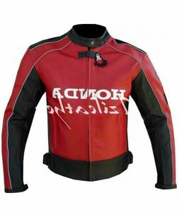 New Mens Full Red Unique Wing Motorcycle Cowhide Leather Jac