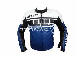New Mens White Blue Unique Motorcycle Cowhide Leather Jacket